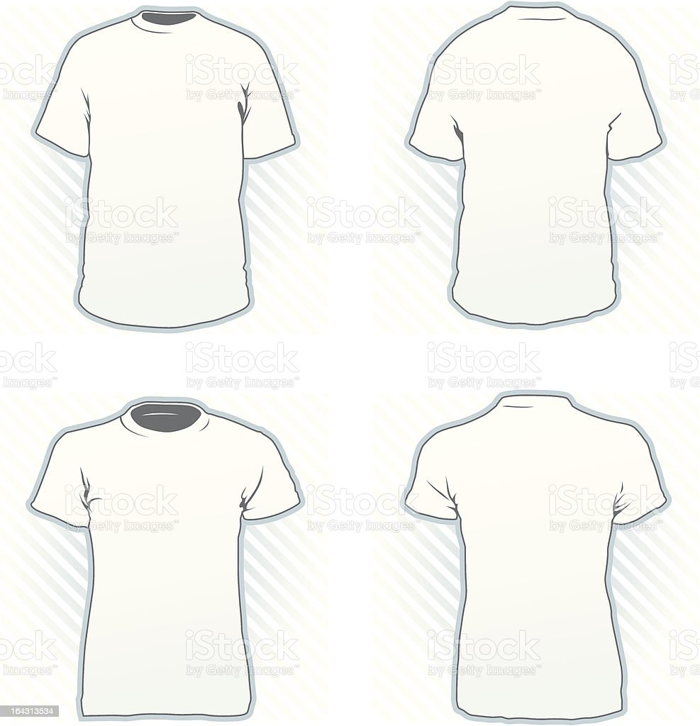 """T-shirt design template set """"T-shirt design template set including male and female, front and back view"""" Activity stock vector"""