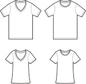 Male and female generic blank shirt template illustration.