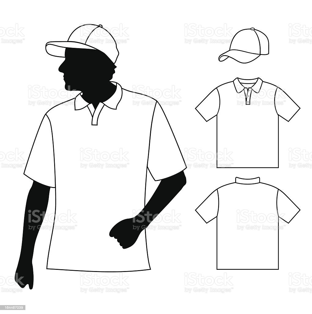 T-shirt with human body silhouette and baseball cap. royalty-free stock vector art