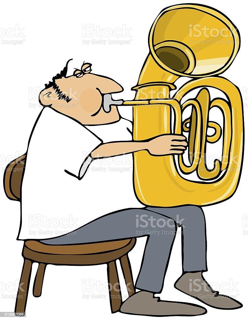 Tuba player vector art illustration