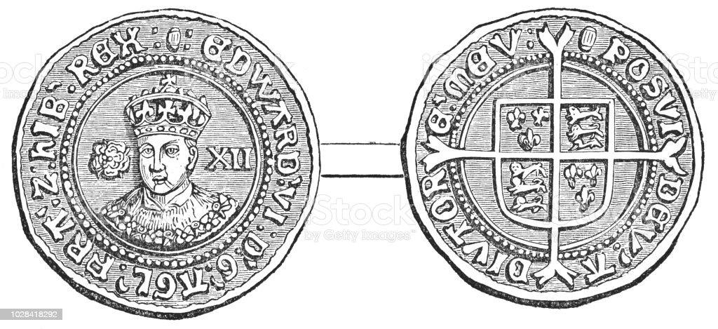 Tudor Rose Edward VI Shilling Coin (1547-1553) vector art illustration