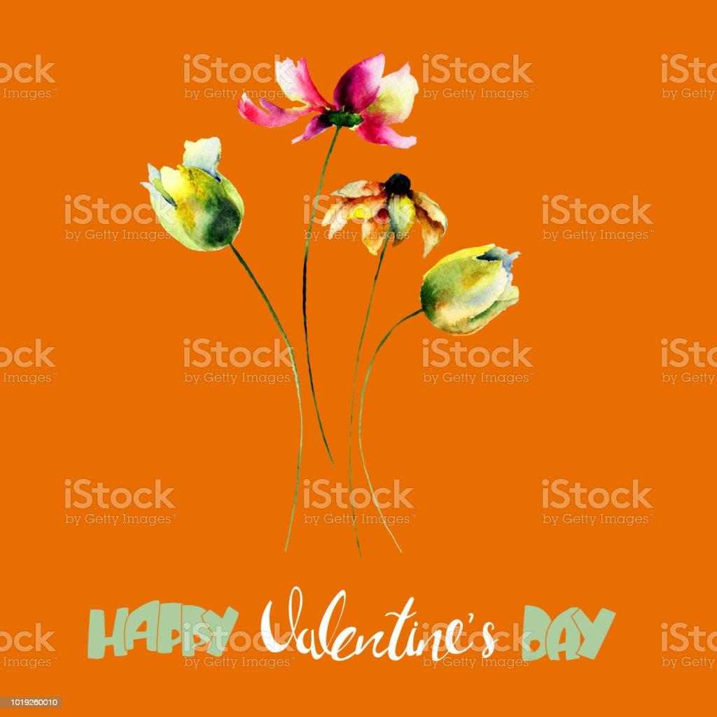 Tulips and Gerbera flowers vector art illustration