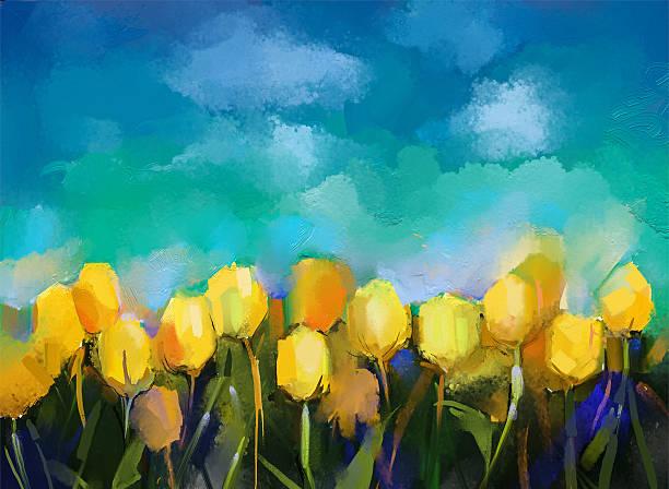 Tulips flowers.Abstract flower oil painting vector art illustration