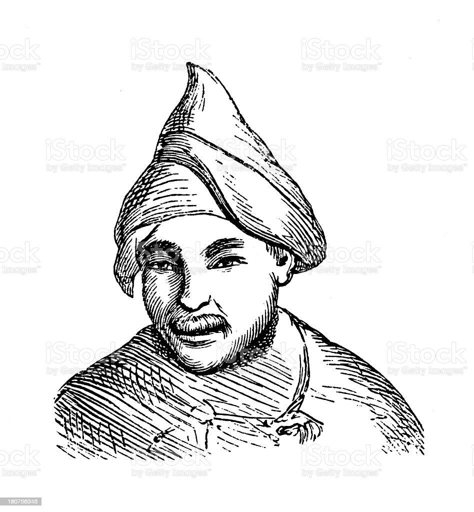 Tungusic man, Siberia (antique wood engraving) royalty-free stock vector art