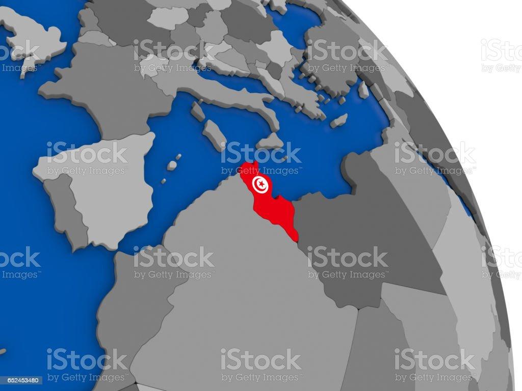 Tunesien Karte Welt.Tunesien Und Seine Flagge Auf Der Ganzen Welt Stock Vektor
