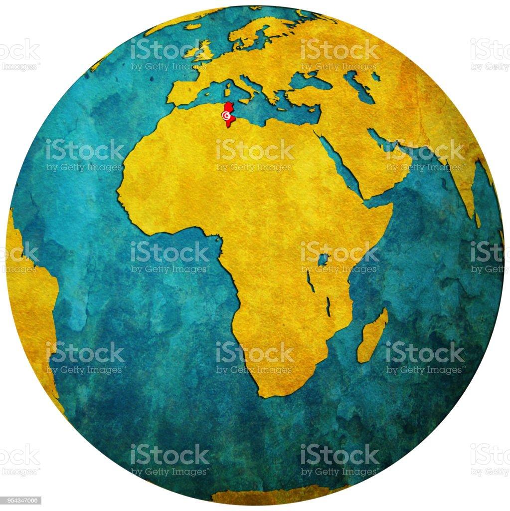 Tunesien Karte Welt.Tunesiengebiet Mit Flagge Auf Karte Der Welt Stock Vektor