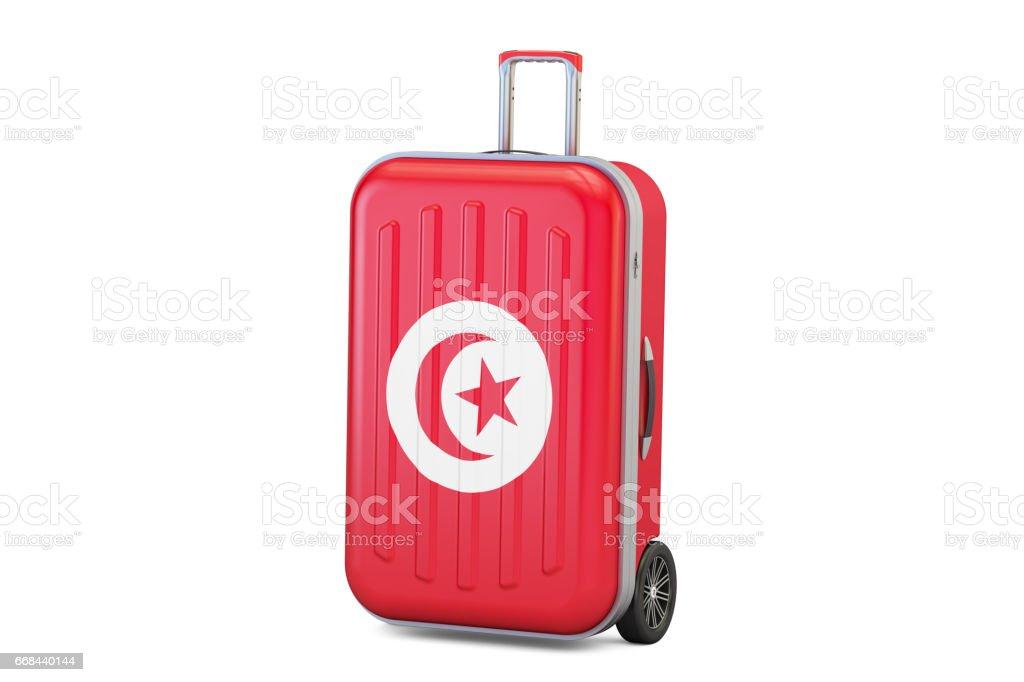 102f3be81 Concepto de viaje Túnez, maleta con la bandera de Túnez. Render 3D  ilustración de