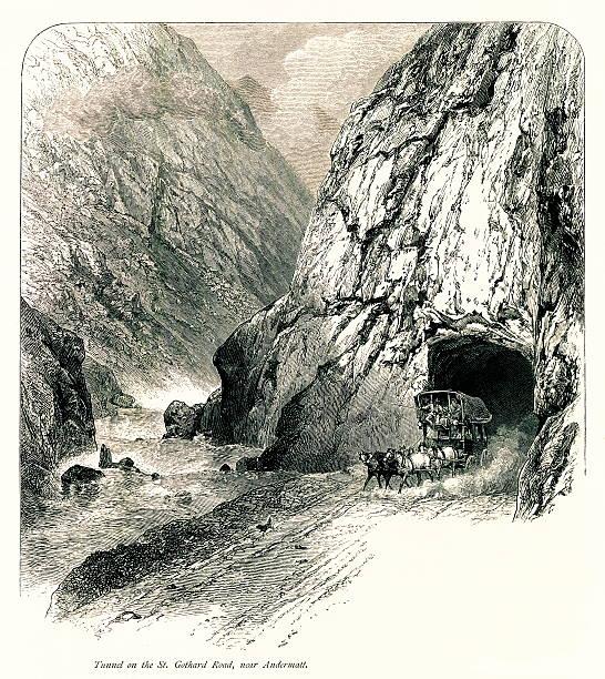 illustrazioni stock, clip art, cartoni animati e icone di tendenza di tunnel del san gothard road, nei pressi di andermatt, svizzera - monte bianco
