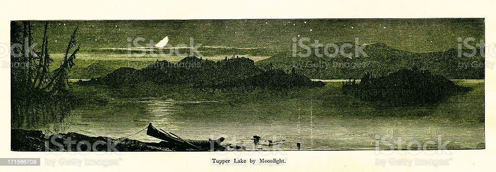 Tupper Lake by moonlight, New York vector art illustration