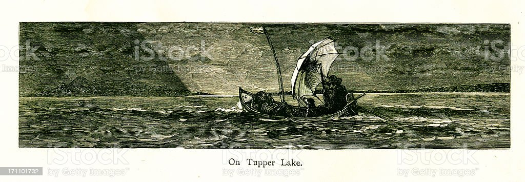 Tupper Lake, New York | Historic American Illustrations royalty-free stock vector art
