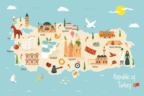 stockillustraties, clipart, cartoons en iconen met turkije geïllustreerde kaart met beroemde monumenten iconen - turkse cultuur
