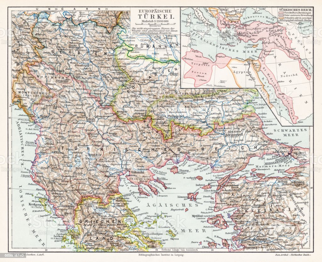 Turkey map 1895 vector art illustration