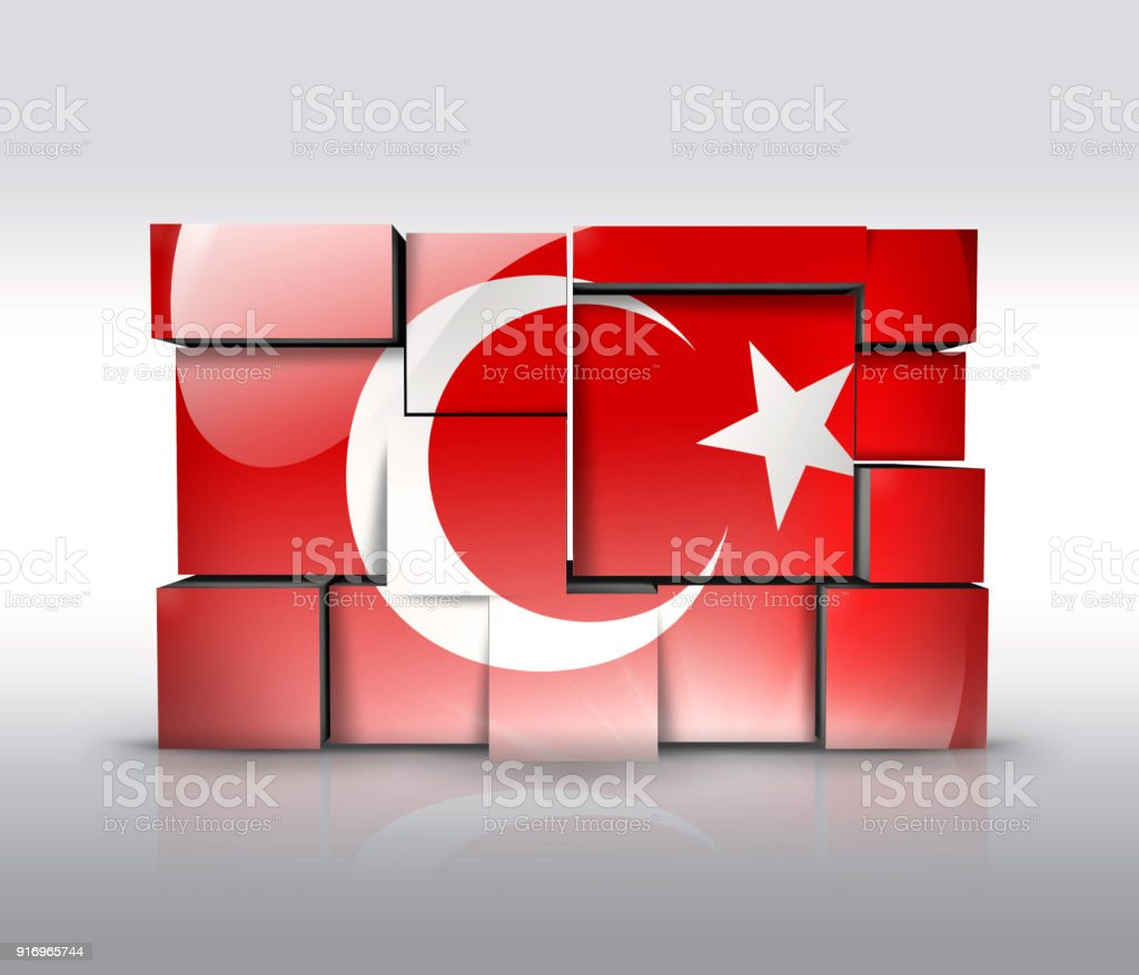 Turkey wall with turkish flag as puzzle isolated on white vector art illustration