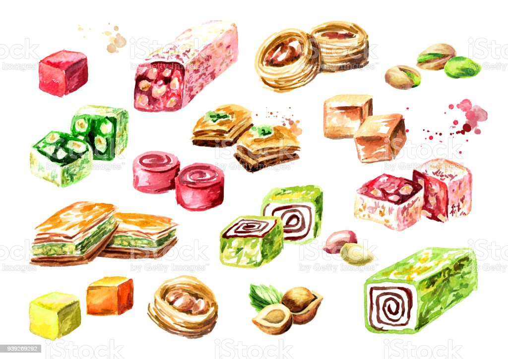 Turkish delights set. Watercolor hand drawn illustration, isolated on white background vector art illustration