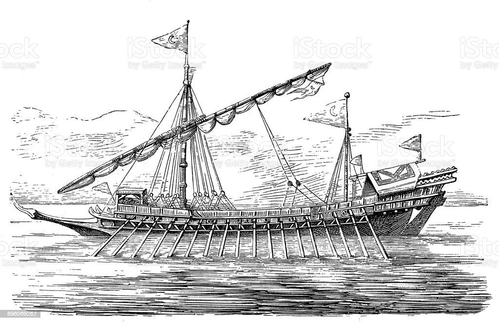 Turkish galley, 17th century vector art illustration