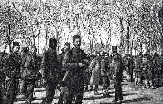 Turkish infantry on the station square in Salonika