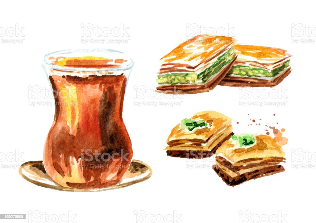 Turkish tea in traditional glass and baklava set. Watercolor hand drawn illustration, isolated on white background vector art illustration
