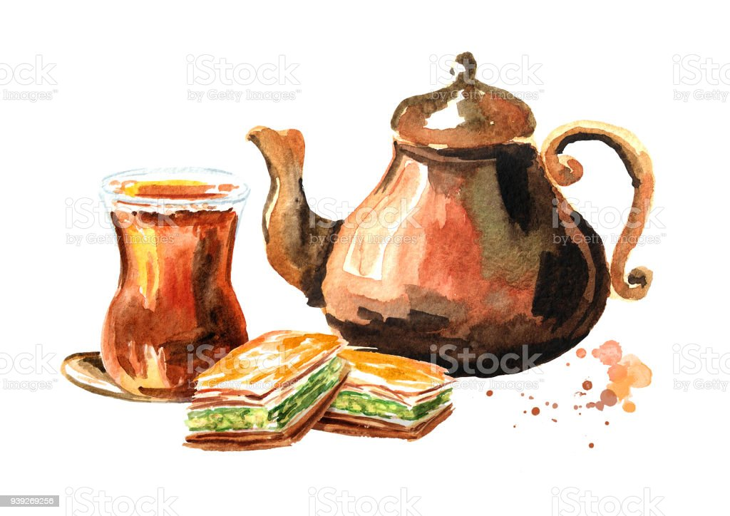 Turkish tea in traditional glass with copper tea pot and baklava. Watercolor hand drawn illustration, isolated on white background vector art illustration