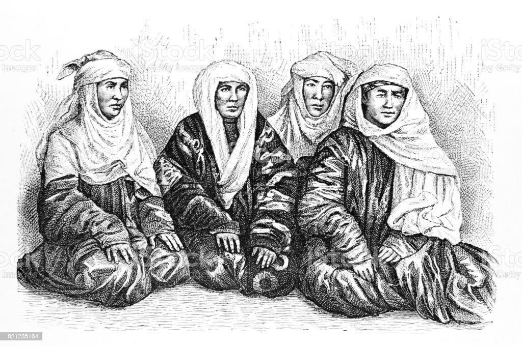 Turkmens Women in Turkmenistan, Central Asia vector art illustration
