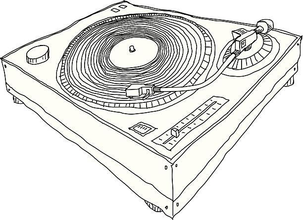 ilustrações, clipart, desenhos animados e ícones de mesa giratória - toca discos