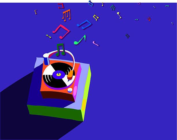 Plattenspieler mit indigo – Vektorgrafik