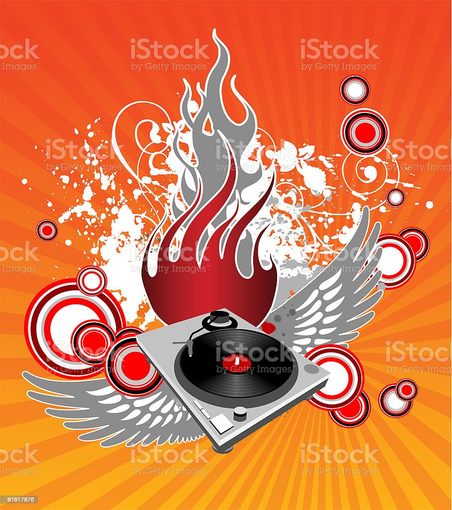 Turntable with wings on modern grunge background royalty-free stock vector art