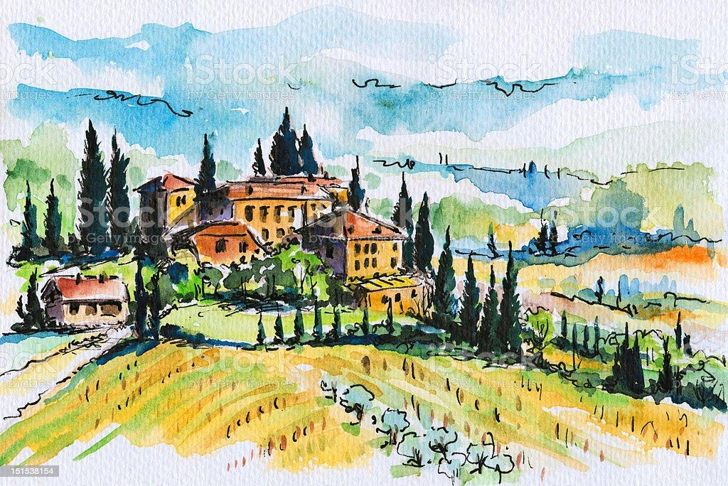 Tuscany landscape royalty-free stock vector art
