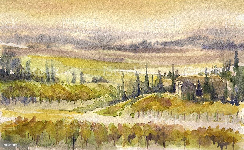 Tuscany landscape vector art illustration