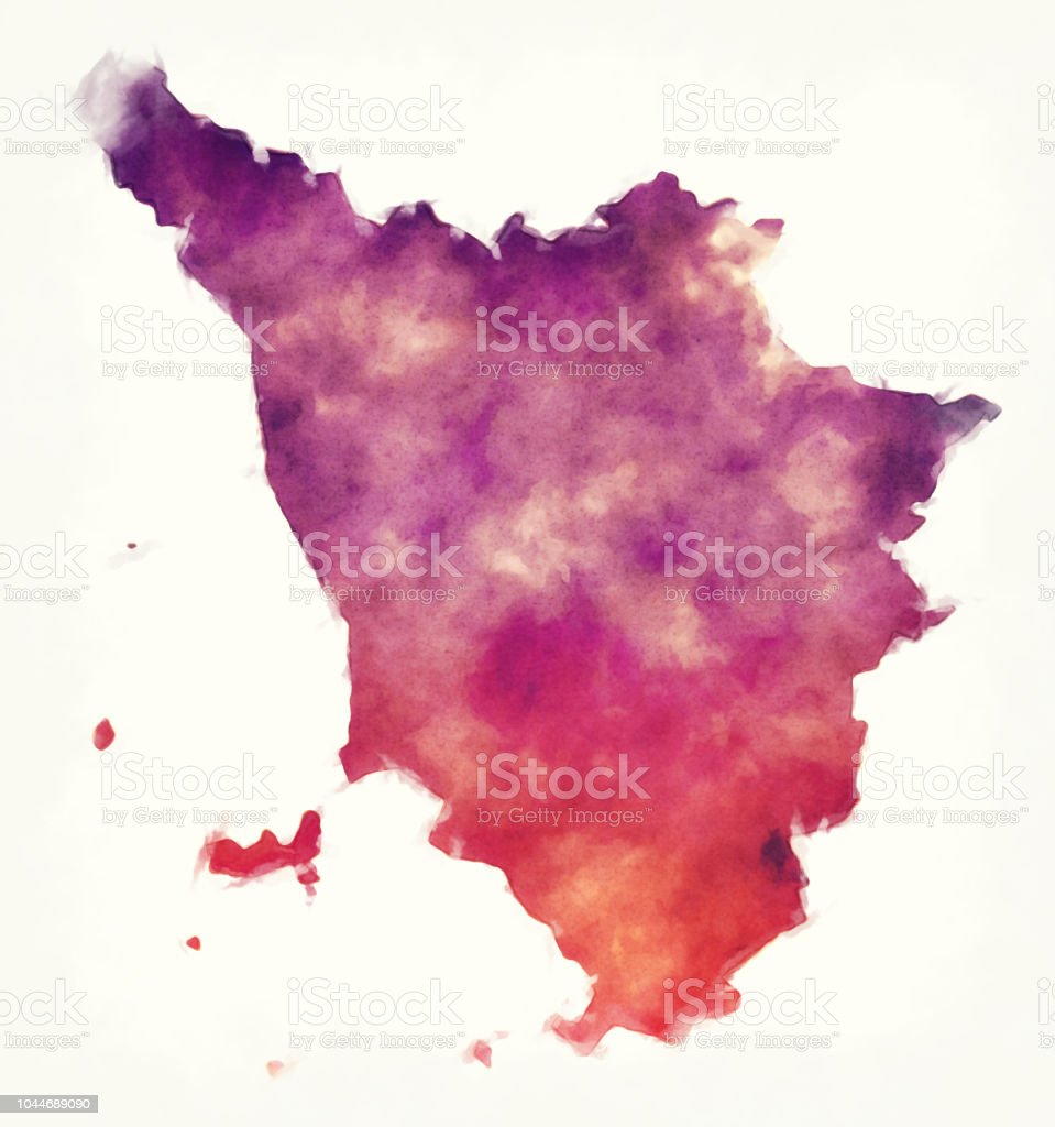 Map Of Italy Tuscany Region.Tuscany Region Watercolor Map Of Italy In Front Of A White