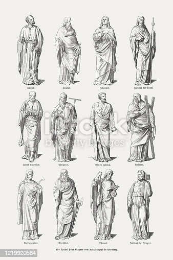 The Twelve Apostles. Wood engravings after the sculptures of the Monument of St. Sebaldus in the Sebalduskirche at Nuremberg, Germany, the masterpiece of Peter Vischer the Elder (German sculptor, ca. 1455 - 1529) and his sons (created 1508 - 1519), published in 1893.