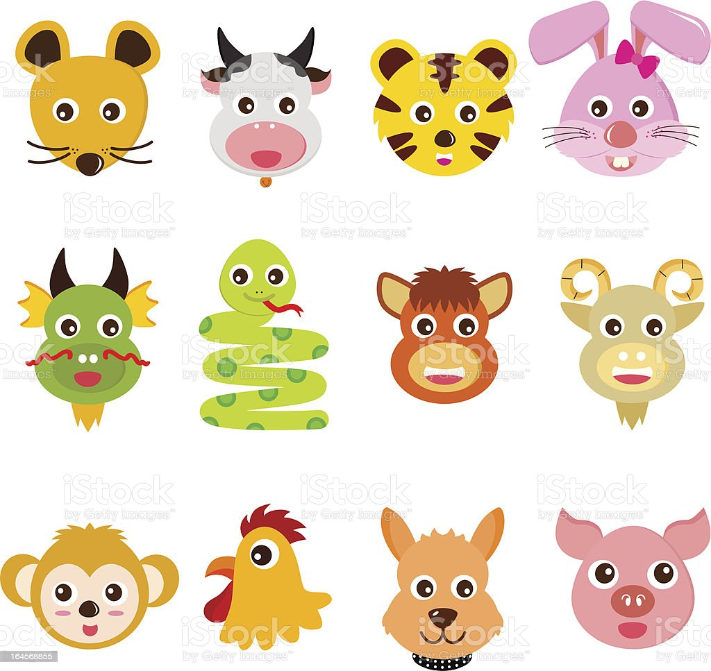 Twelve Chinese Zodiac animals royalty-free stock vector art