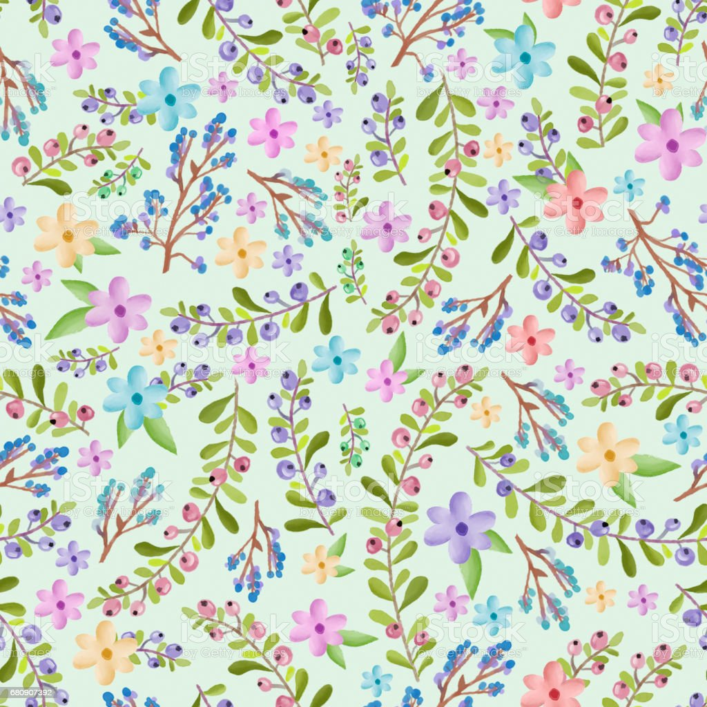 Twigs and floral pattern royalty-free twigs and floral pattern stock vector art & more images of art