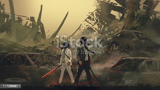 istock twin gas mask warriors of the dystopian world 1172866611