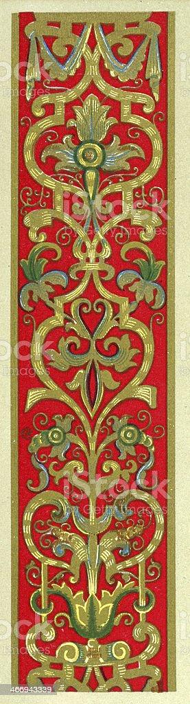 Twining Foliage Pattern - 16th Century royalty-free stock vector art
