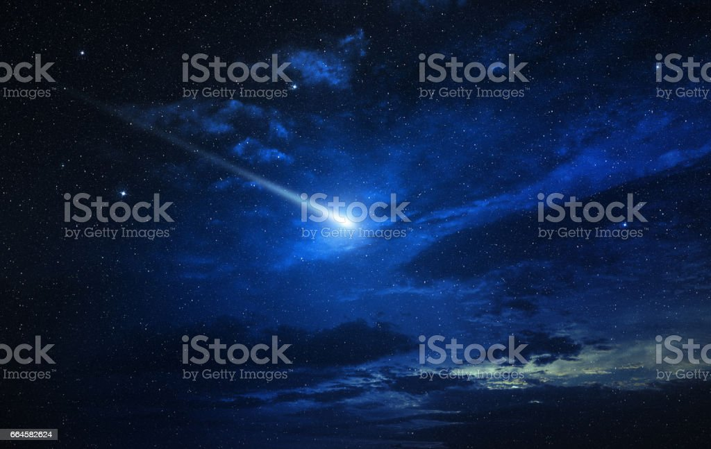 twinkling comet in a blue starry sky vector art illustration