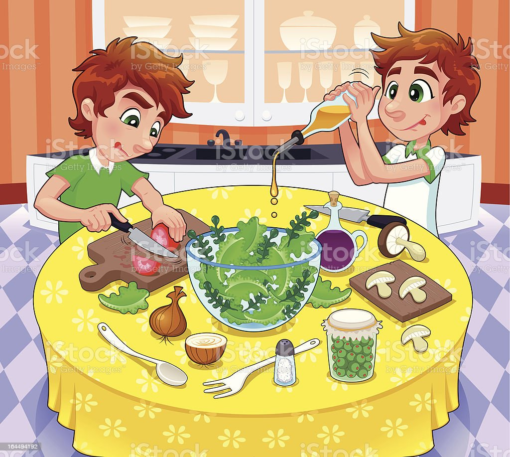 Twins are preparing a green salad. royalty-free stock vector art
