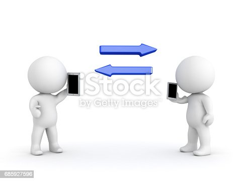 Two 3D characters communicating with each other through phones. The arrows symbolize this exchange of ideas.