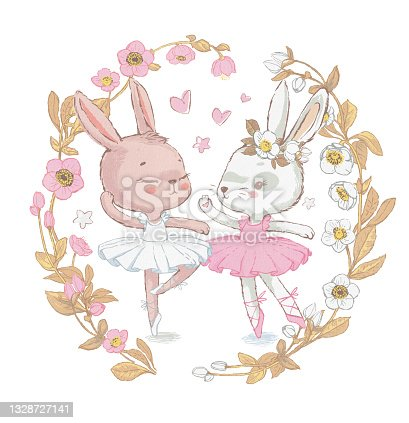 Two Adorable ballerina bunnies illustration surrounded by floral wreath. White dancing rabbits illustration. Can be used for t-shirt print, kids wear fashion design, baby shower invitation card.