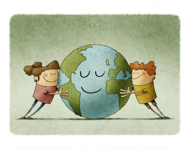 Two adorable children affectionately hug a planet earth that smiles. vector art illustration