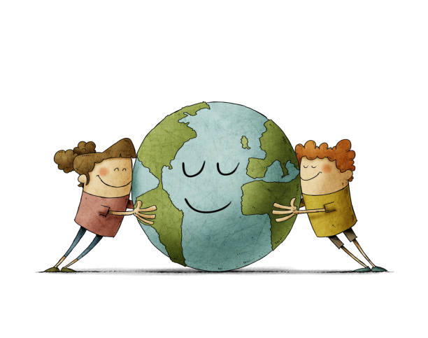 Two adorable children affectionately hug a planet earth that smiles. isolated vector art illustration