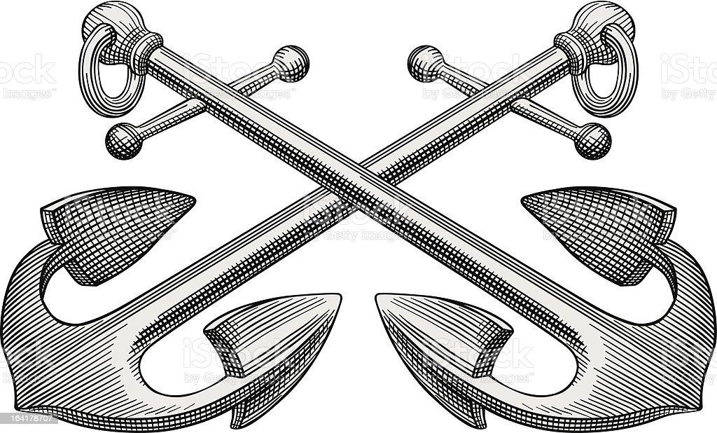 Zwei anchors Gravur – Vektorgrafik