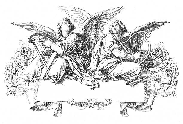 two angels singing playing harp - mimari illüstrasyonlar stock illustrations