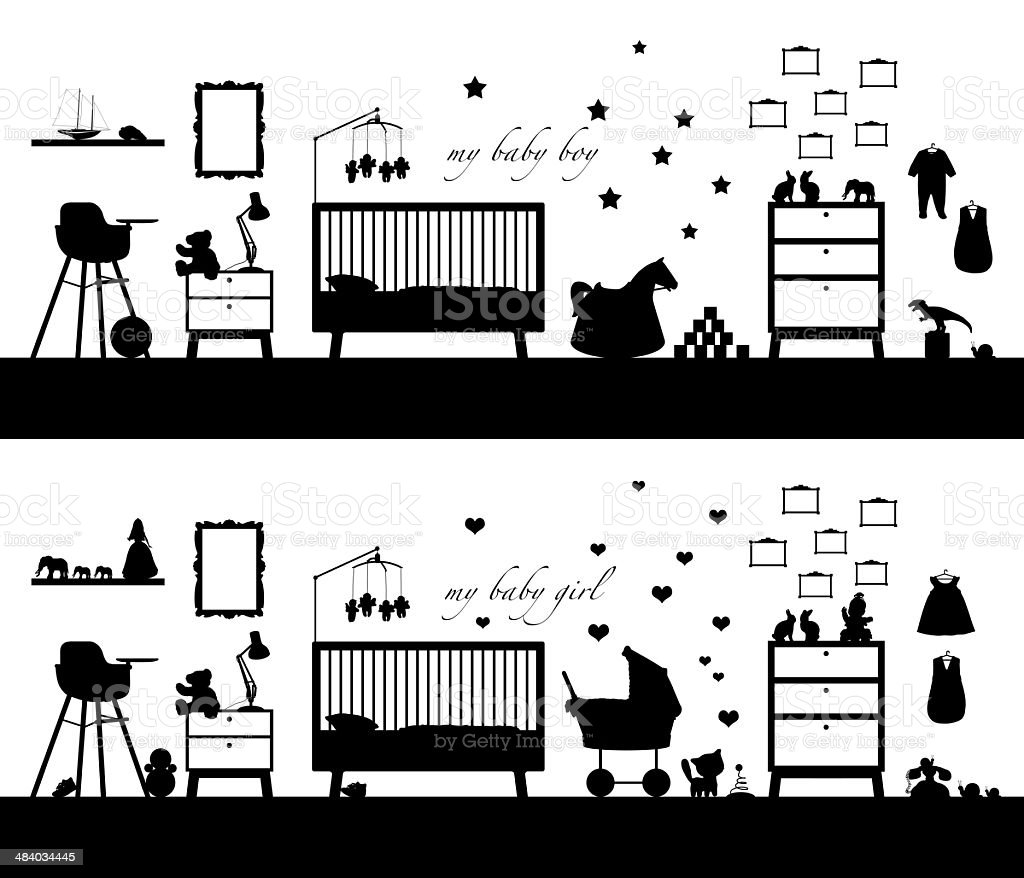two babies' rooms interiors black silhouettes vector art illustration