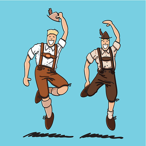 "Two Bavarian Lederhosen Men ""Vector illustration of two Bavarian Lederhosen Men. They are dancing at the Oktoberfest. The line art, color and background are on separate layers, so you also can use the illustration on your own background. The colors in the .eps-file are ready for print (CMYK). Included files: EPS (v8) and Hi-Res JPG."" doodle NOT black and white stock illustrations"