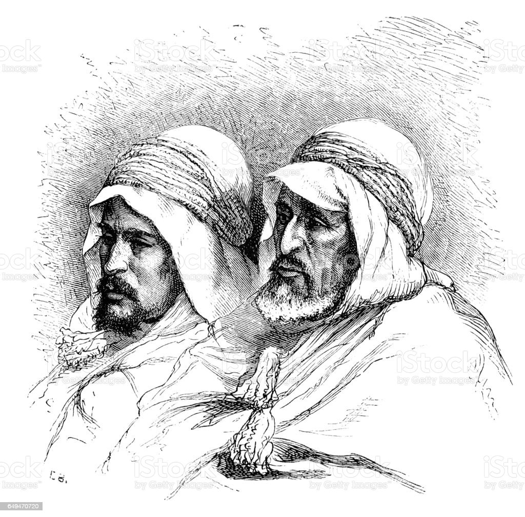Two Bedouin tribesmen vector art illustration