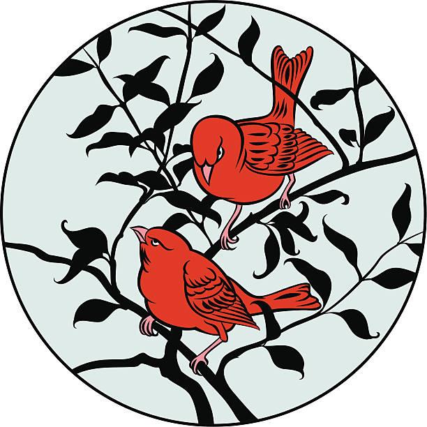 Zwei Vögel auf Ast – Vektorgrafik