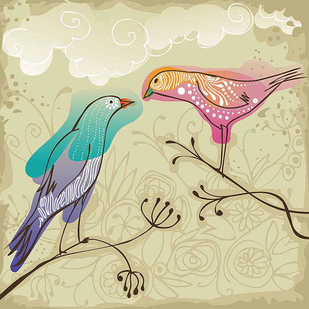 two birds sitting on branches vector art illustration