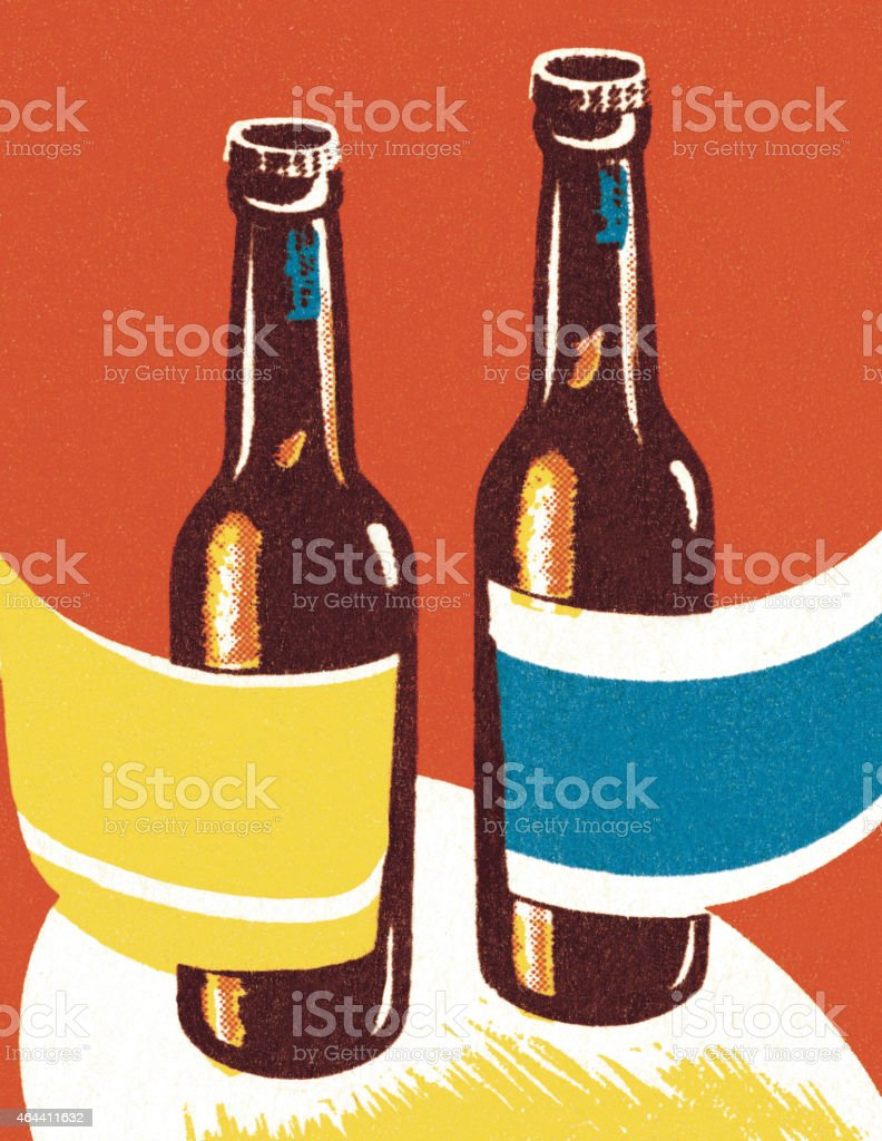 Two Bottles of Beer vector art illustration