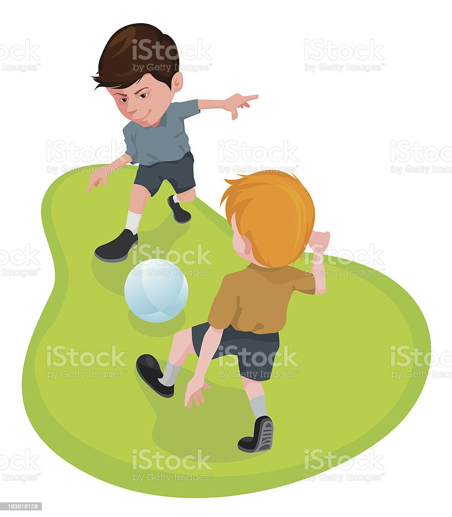 Two boys are playing football royalty-free stock vector art