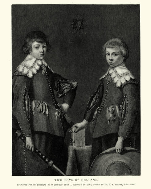 two boys of holland after the painting by aelbert cuyp - dutch traditional clothing stock illustrations, clip art, cartoons, & icons